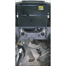 Защита картера, КПП, радиатора, топливоохл. Ford Transit 2000-2014  2 мм, Сталь. Пер. привод