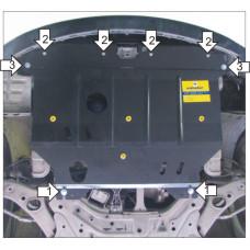 Защита картера и кпп KIA Optima 2010-  2 мм, Сталь