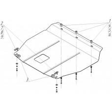 Защита картера и кпп KIA Sorento 2012-  2 мм, Сталь