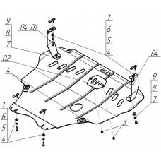 Защита картера и кпп Ford Focus C-max 2003-2007  2 мм, Сталь