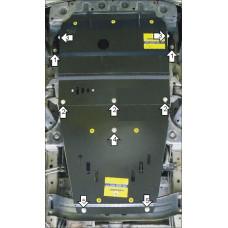 Защита картера Мотодор для Hyundai H-1 / Starex 2008- на Двигатель, КПП 2 мм, Сталь