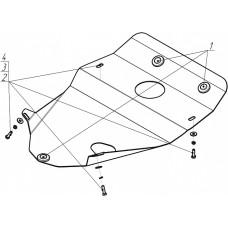 Защита картера Мотодор для Hyundai Porter 2004-2012 на Двигатель 2 мм, Сталь