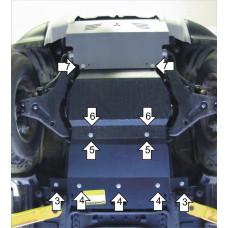 Защита картера, пер. диф., КПП  MITSUBISHI Pajero Sport II 2012-, V=3.0, сталь 3мм Мотодор
