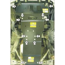Защита картера, КПП, передний диф. для Toyota Land Cruiser Prado 120 2002-2009 сталь 3мм Motodor