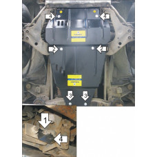 Защита картера и КПП MITSUBISHI Pajero Sport 1997-2008, сталь 2мм. Мотодор