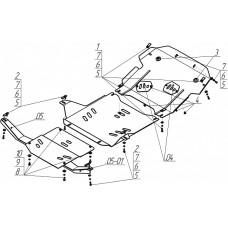 Стальная защита на Двигатель, КПП, Раздаточную коробку для MITSUBISHI Pajero IO 1999-2007