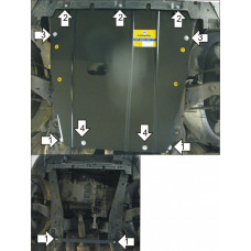 Защита картера и КПП Ford Mondeo III 2000-2007  2 мм, Сталь