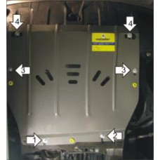 Защита картера Мотодор для Hyundai ix55 2008- на Двигатель, КПП 2 мм, Сталь