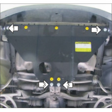 Защита стальная Мотодор на Двигатель для SUBARU Outback 2000-2003