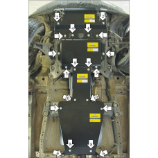 Защита картера, КПП, РК для SUZUKI Grand Vitara \ Escudo 2005-2015 сталь 3мм