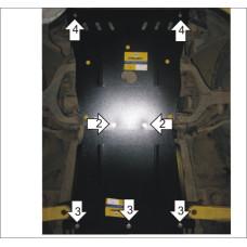 Защита картера, радиатора, пер. диф., КПП Ssang Yong Kyron 2005- сталь 2мм