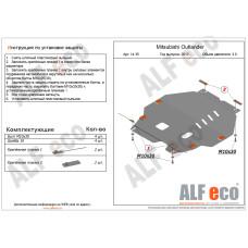 Защита картера и КПП Mitsubishi Outlander new 2012- V=3.0 сталь 2мм