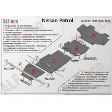 Защита радиатор, картер, КПП, РК (4 части) Nissan Patrol 2010- сталь 2мм